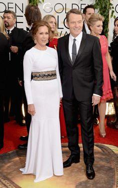 Bryan Cranston, uno de los ganadores de la noche por su papel de Walter White de Breaking Bad, junto a su mujer, Robin Dearden.