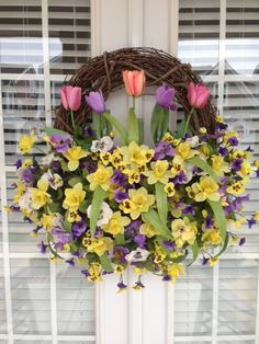 "What a gorgeous way to welcome Spring.. and your visitors!! Tulip & Pansy Easter~Spring Wreath... Creative Design's By ""Flower~Girl"""