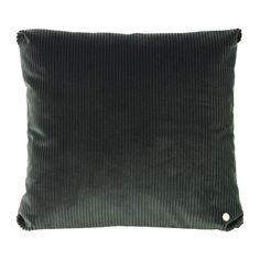 ferm LIVING Corduroy - Coussin - fill et zipper Burgundy Decor, Danish Design Store, Green Cushions, Green And Grey, Dark Grey, Corduroy, Manchester, Decorative Pillows, Swatch