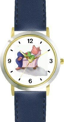 This Little Piggy - Stayed Home - from Mother Goose by Artist: Sylvia Long - WATCHBUDDY® DELUXE TWO-TONE THEME WATCH - Arabic Numbers - Blue Leather Strap-Size-Children's Size-Small ( Boy's Size & Girl's Size ) WatchBuddy. $49.95. Save 38% Off!