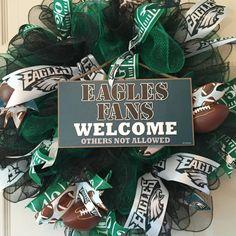 Philadelphia Eagles Mesh Wreath; Football Wreath; Fall Wreath; Sports Wreath; Eagles Decor; Football Decor; Handmade Wreath by ChewsieCreations on Etsy