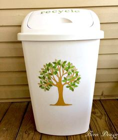 When you're SO over your boring trash can this might be the easiest and cutest way to totally transform it!