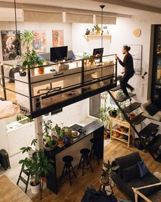 Dream House Loft Tiny Homes Loft Design, Tiny House Design, Deco Design, Small Home Interior Design, Art Studio Design, Stylish Interior, Studio Interior, Interior Ideas, Tiny House Living