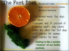 5:2 fast diet; only 500calories 2 days/week
