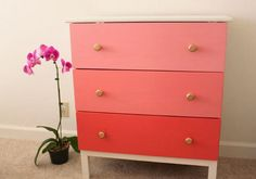 Spice up your plain dresser with some bright paint. This Gorgeous Ombre IKEA Dresser Hack will have you picking out a new can of paint in no time.