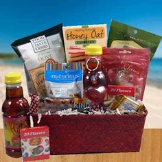 Heart-healthy gift basket ($51) Packed with healthy food options like dark chocolate almonds, cheese, dark chocolates, peanuts, fruit chips, tea, popchips, fruit bar, popcorn and more