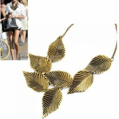 Vintage Leaves Exaggerated Personality Necklace Coat Chain