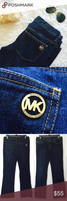 "Michael Kors Bootcut Jeans in Stellar (Petite) MICHAEL Michael Kors Stretch Bootcut jeans. Perfect for every day use. Zip fly with button closure. Five-pocket silhouette. Belt loops. Contrast stitching. Brass-tone hardware. Mid-rise. In great Preowned condition. No tears or stains. Size 4. Fits a 26 waist. 7"" rise, 29"" inseam, 18"" leg opening Cotton/Spandex. Best for height 5'3 and under. Reasonable offers welcome. MICHAEL Michael Kors Jeans Boot Cut"