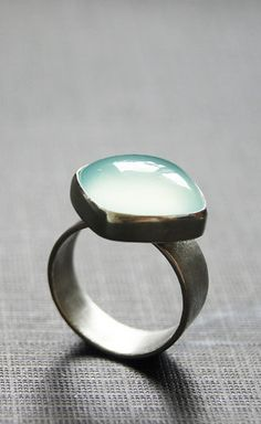 Sterling Silver Ring Aqua Chalcedony Cabochon  #Fashionable # Jewelry