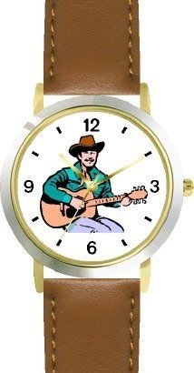 Country Western Singer Playing Guitar 1 Musician - WATCHBUDDY® DELUXE TWO-TONE THEME WATCH - Arabic Numbers - Brown Leather Strap-Size-Children's Size-Small ( Boy's Size & Girl's Size ) WatchBuddy. $49.95. Save 38% Off!