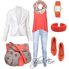 Love the coral. dress up w/ blazer.  Need white blazer and flats/sandal fpr staple.  Have coral top.