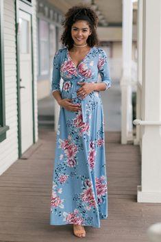 0cefb01c79c48 Blue Floral Sash Tie Maternity Nursing Wrap Maxi Dress