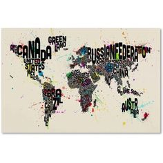 Trademark Fine Art Text Map of the World IV Canvas Art by Michael Tompsett, Size: 22 x 32, Multicolor