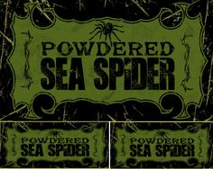 Powdered Sea Spider 2013 - Lots of people enjoy my Halloween Bottle Label board so I thought I'd create my own labels to share with all of you awesome people!  Enjoy and have  a great Halloween season!
