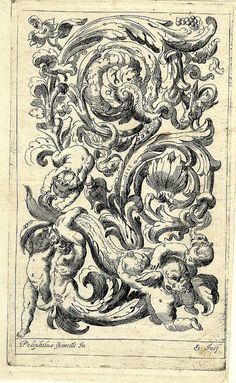 Scrolls with a satyr and three putti carrying a large fish (1600-25) (after Fialetti + Giancarli) by peacay, via Flickr