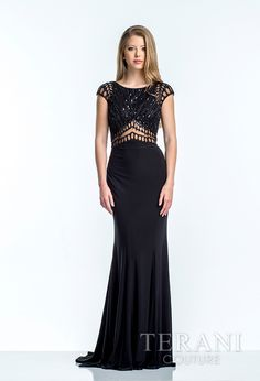 jersey evening sheath with sequin embellished bodice and nude illusion  detailing at the cap sleeve 7b6f3064c