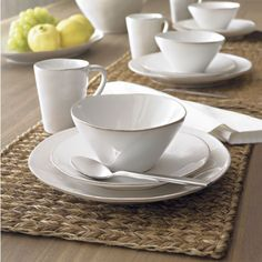 I have these dishes and LOVE, LOVE, LOVE them. Dress up with pretty mats or colored salad plates. Rustic yet elegant! Marin White Dinnerware  | Crate and Barrel