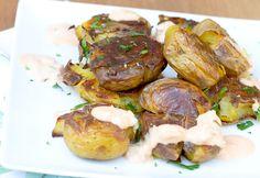 crispy smashed potatoes with sriracha fry sauce