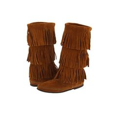 Minnetonka Calf Hi 3-Layer Fringe Boot ($89.95)I WANT THESE FOR MY BIRTHDAY IN BROWN  UGGS SIZE 9 CLASSIC SHORT IN BLACK  AND BLUNDSTONES 150 SIZE 9/ 1/2 BLACK!!!