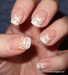 Lace nails, by Polish and Powder (http://polishandpowder.blogspot.co.uk/2010/03/konad-m69-lace-french.html)