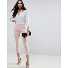 ASOS High Waisted Skinny Crop Pants ($34) ❤ liked on Polyvore featuring pants, capris, pink, pink pants, high waisted skinny trousers, pink crop pants, tall pants and high-waist trousers