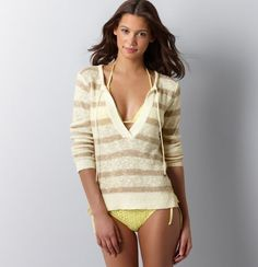 """""""This perfect little bikini with a neutral stripe cover up is perfect for covering up to dine or get out of the sun during a boating excursion."""" -- Jen G"""