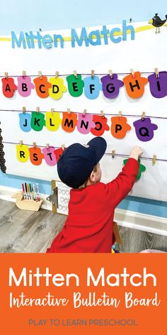 This bulletin board helps students to master matching, letter or number identification, and early writing skills. This bulletin board is not only visually appealing, but it provides a hands on experience for preschoolers. This activity can be varied by using lowercase letters, numbers, or even high-frequency words. #bulletinboard #hands-onpreschool #letterrecognition Preschool Centers, Preschool Literacy, Early Literacy, Toddler Preschool, Classroom Activities, Preschool Activities, Winter Activities, Alphabet Activities, Interactive Bulletin Boards