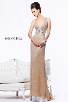 d3ada84b11 Fashionable Long V-neck Empire Open Back Sequin Evening celebrity formal  Dress Sherri Hill 11003