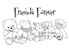 Friends Forever Digi Stamp Drawing of Five by ToadstoolPrintables, $3.50