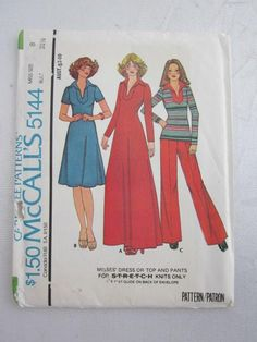 "1976 MCCALL'S PATTERN 5144 Misses' Dress Or Top and Pants For Stretch Knits Only Size 8 Bust 31 1/2"" 1970s Flares"