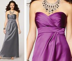 Bridesmaid dresses in the charcoal color!  but with a small delicate necklace instead