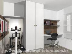Quarto 3 em 1: Home Office, sala de ginástica e quarto de hóspedes. http://dicasdearquitetura.com.br/quarto-3-em-1-academia-hospedes-e-escritorio/
