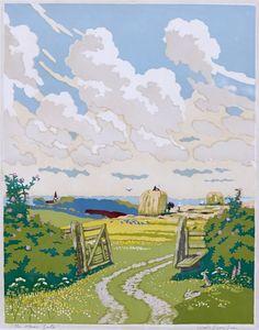 John Hall Thorpe ~ The Open Gate ~ Woodcut Landscape Illustration, Watercolor Landscape, Landscape Art, Landscape Paintings, Illustration Art, Landscapes, Linocut Prints, Art Prints, Block Prints
