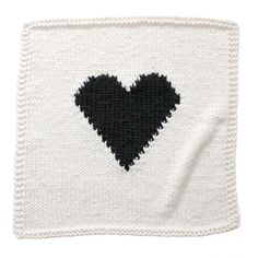 OffWhite and Black Heart Knitted Baby Blanket by YarningMade