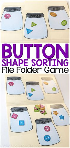 Work on early math skills, shapes, and colors with this fun printable button sorting file folder game for preschoolers!