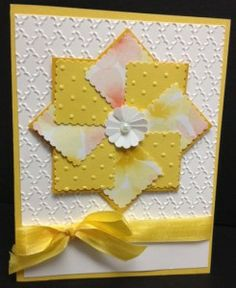 Handmade faux pinwheel card using Watercolor Wonder Designer Series Paper and Postage Stamp Punch from Stampin' Up!