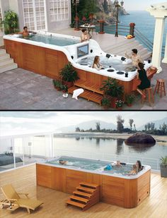 Love this SwimSpa. Swimming pool and spa bar in one.