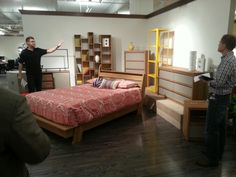 Designer Shawn showing off Soft Modern. Really cool stuff! #hpmkt Sauder Furniture