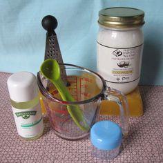 homemade lip balm using beeswax, coconut oil, and vitamin E oil.