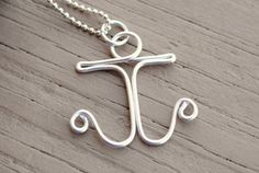 Wire Necklace Charm Pendant Silver Anchor by KissMeKrafty on Etsy