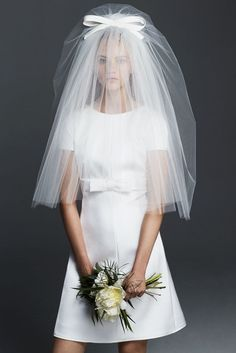 Mini Wedding Dress // max Mara Collection 2016 // CYDONIA, mini dress in milk-white double satin and silk blend with a couture bow at the waist. Flared line and Sixties-style vintage cut. Mini Wedding Dresses, Princess Wedding Dresses, Bridal Dresses, Wedding Gowns, Mod Wedding, Wedding White, Wedding Tips, Wedding Photos, Wedding Cards