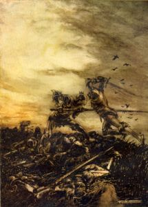 The Battle of Cad Camlan, Arthur vs. Mordred (art by Arthur Rackham)