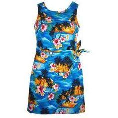 Short, Dress, Hawaiian - Skyburst Hawaiian Sarong Dress