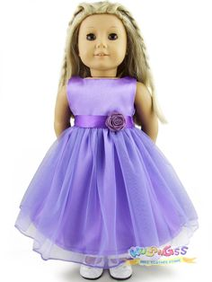 """Doll Clothes fits 18"""" American Girl Handmade Lavender Party Dress #wulang55 #dolldress"""
