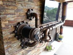 Steampunk Fireplace Surround by J. Kinsey's Artifice (Via Josh Kinsey ) Casa Steampunk, Steampunk Bedroom, Steampunk Kunst, Steampunk Interior, Steampunk Furniture, Steampunk Crafts, Steampunk Gadgets, Steampunk Cosplay, Steampunk Design