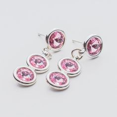 Swarovski Rivoli Earrings 6/6/6mm Light Rose  Dimensions: length: 3,2cm stone size: 6mm Weight ( silver) ~ 3,30g ( 1 pair ) Weight ( silver + stones) ~ 3,95g Metal : sterling silver ( AG-925) Stones: Swarovski Elements 1122 SS29 ( 6mm ) Colour: Light Rose 1 package = 1 pair  Price 9 EUR Sterling Silver Earrings Studs, Silver Jewelry, Stud Earrings, Swarovski, Light Rose, Colour Light, Jewels, Crystals, Pink