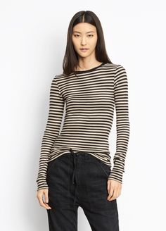 dbd6103b2e6 Shop Vince's Striped Long Sleeve Crew for Women. Luxe pima cotton in a  waffle knit and railroad stripes.