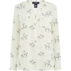 Oasis Stag Shirt ($51) ❤ liked on Polyvore featuring tops, women, viscose shirt, collarless shirts, oasis tops, shirt top and rayon tops