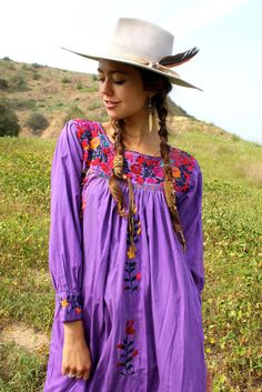 """""""Pretty Purple"""" Vintage Hand Embroidered Oaxacan Maxi Dress"""