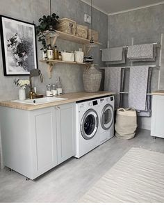 Laundry Room Decor & Design Gorgeous 35 Laundry Room Makeover Ideas For Your Dream House homeflish. Laundry Room Remodel, Laundry Room Cabinets, Laundry Room Organization, Laundry Room Design, Laundry In Bathroom, Gray Cabinets, Organization Ideas, Modern Laundry Rooms, Farmhouse Laundry Room